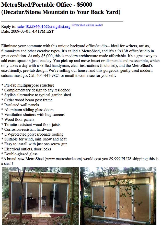 Used MetroShed available on Atlanta craigslist
