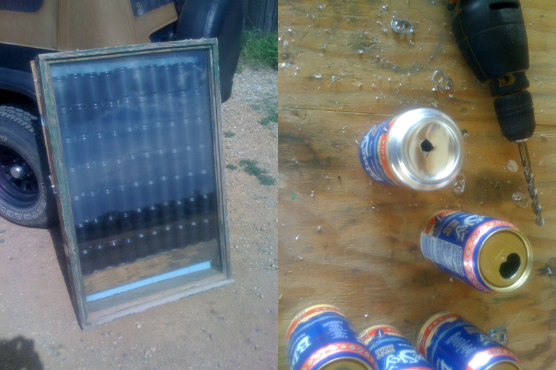 How to build a solar wall heater from recycled cans