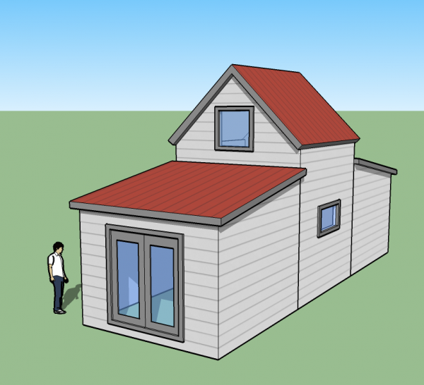 tiny simple house front back