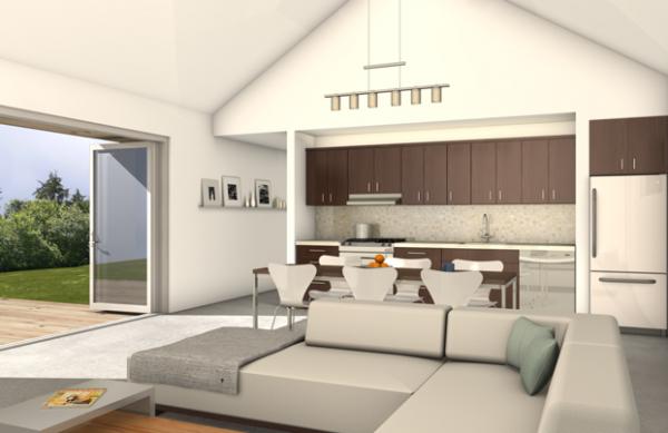 free green modern cabin kitchen