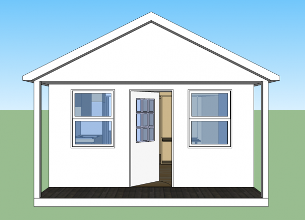 14x20 Cabin - Front Elevation