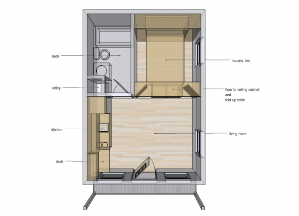14x20 Cabin - Murphy Bed Down