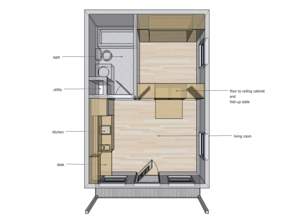 14x20 Cabin - Murphy Bed Up