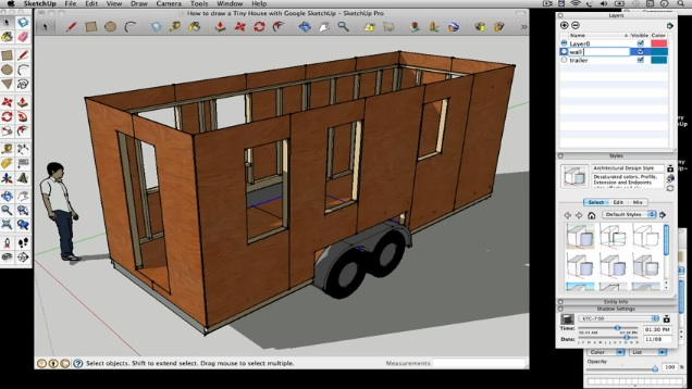 How to draw a Tiny House with Google SketchUp – Part 2