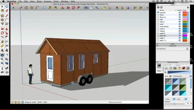How to draw a Tiny House with Google SketchUp – Part 4