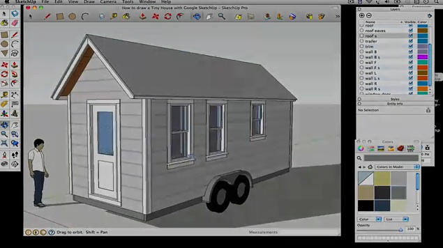 How to draw a Tiny House with Google SketchUp – Part 5