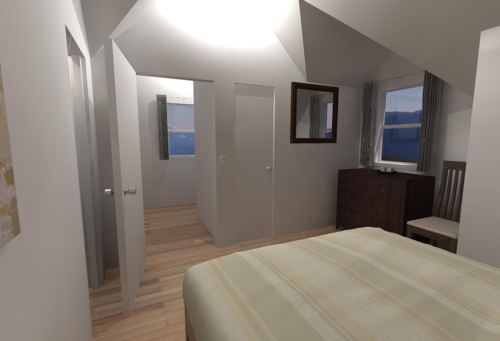 Small House Floor Plans - Bedroom Looking Toward Stairwell