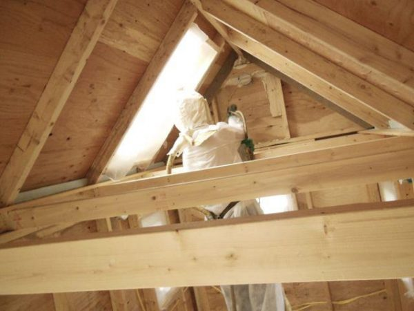 spray foam insulation in eave of tiny house