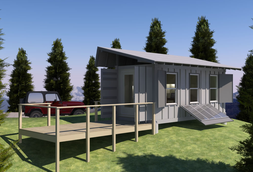 Shipping Container Based Remote Cabin Design Concept Tiny House Design