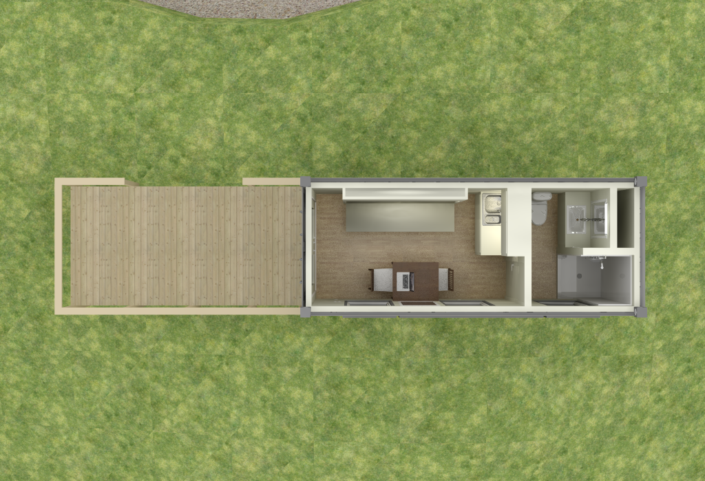 shipping container remote cabin - floor plan