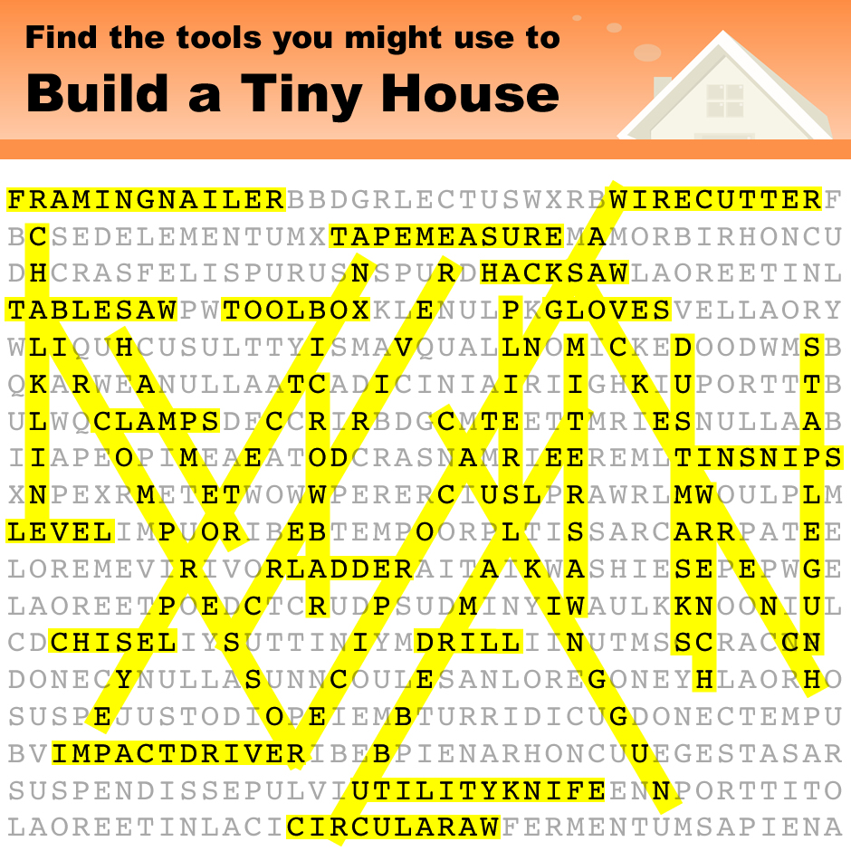 Tiny House Tools Word Search Answers