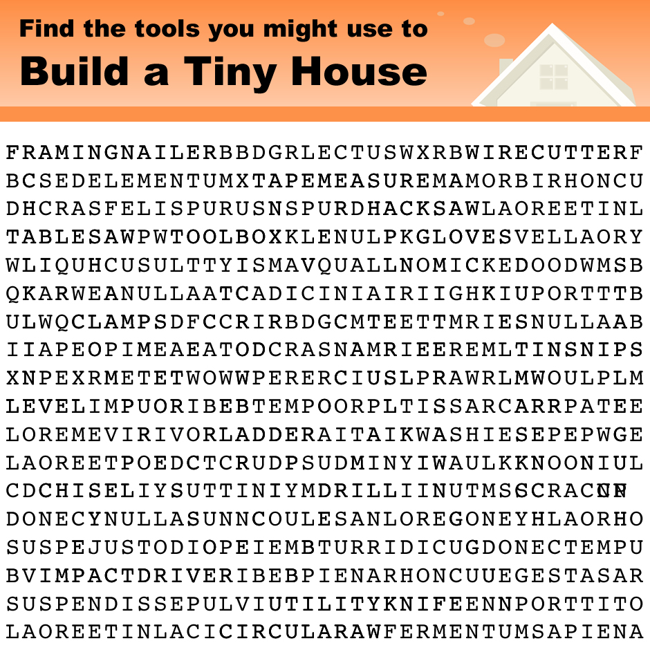 Tiny House Tools Word Search