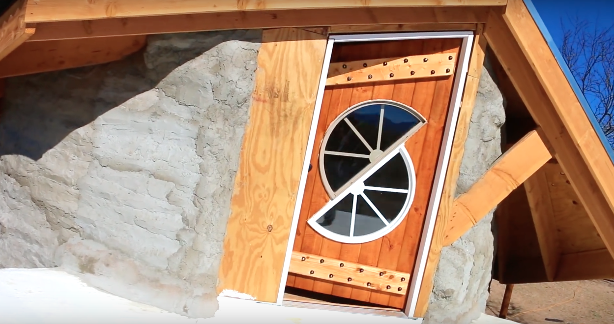 $3750 Tiny Earth Bag Home - Total Cost for Completed Exterior - Loft Door