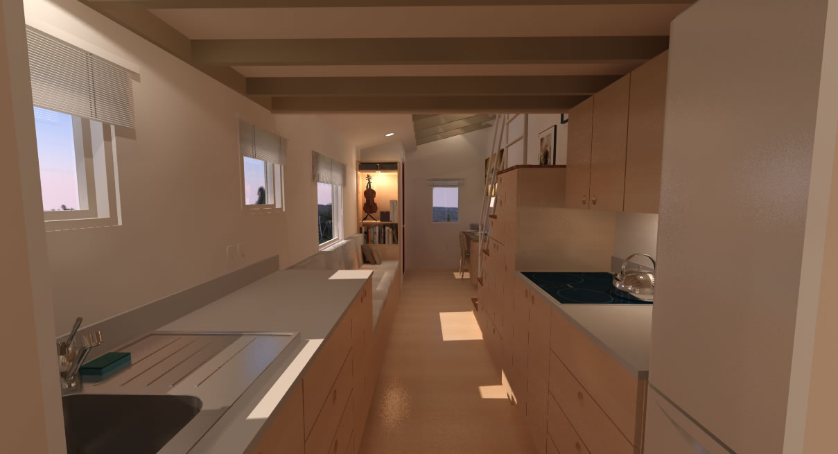 Potter Valley Tiny House Interior from Kitchen
