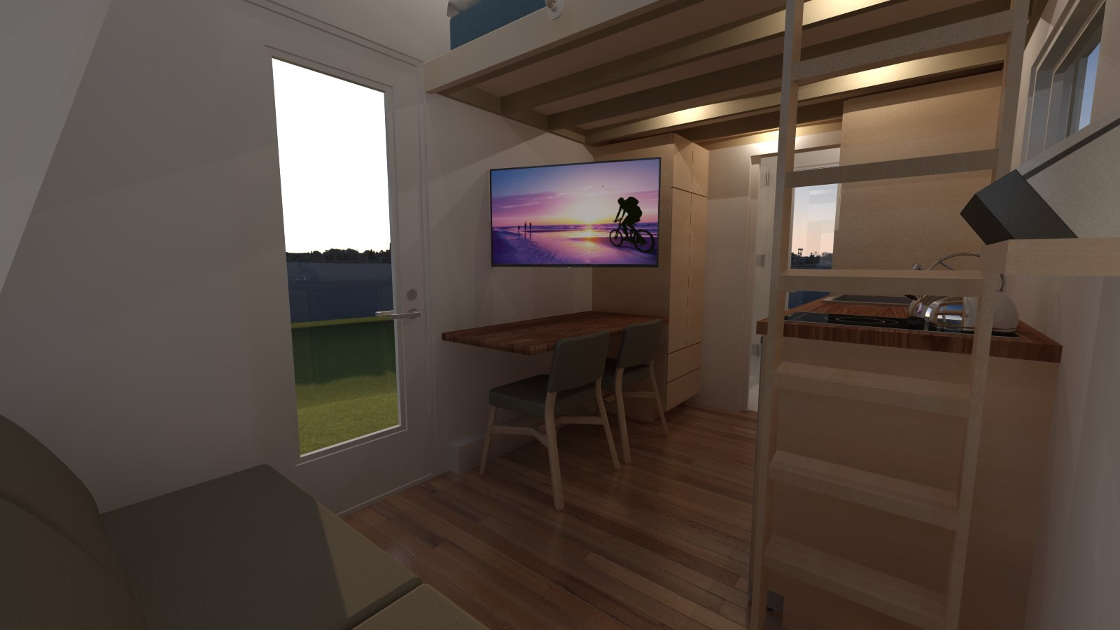 Anchor Bay 16 Tiny House - Home Theater Mode