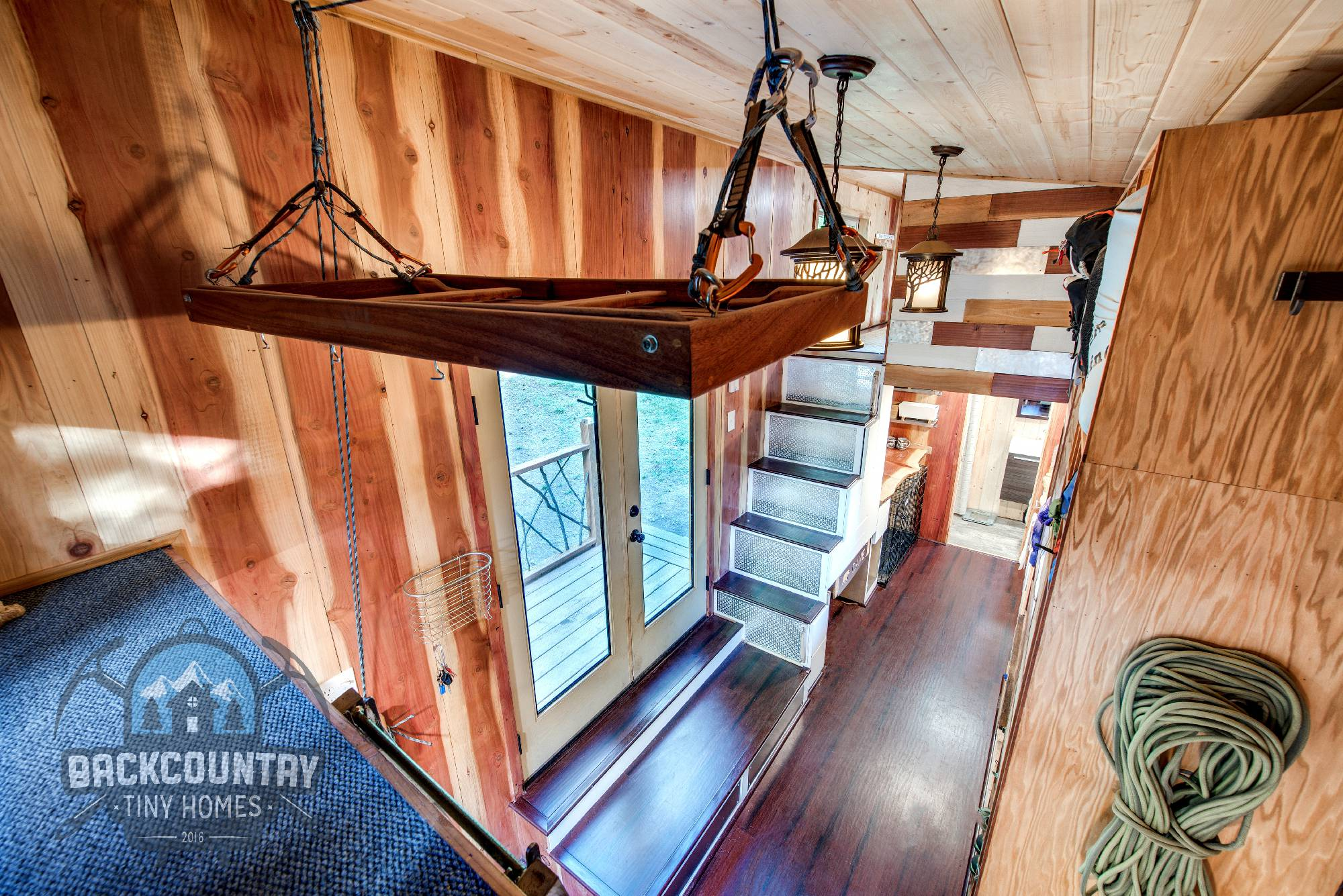 Backcountry Basecamp Tiny House living room loft stairs