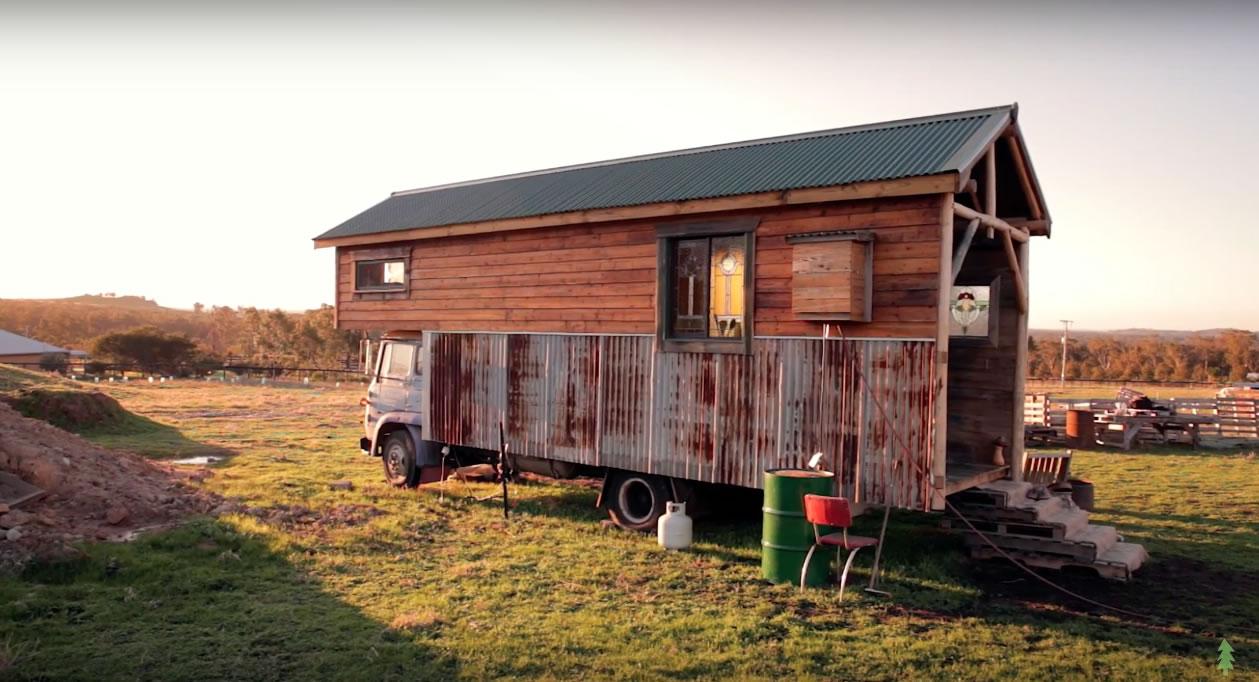 Handmade House Truck at Sunset