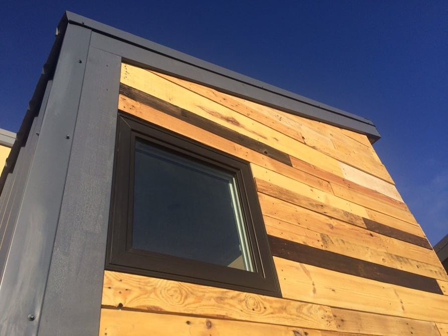 Students create solar-powered tiny house exterior detail